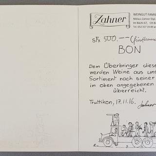 Gutschein 500 CHF, Weingut Zahner